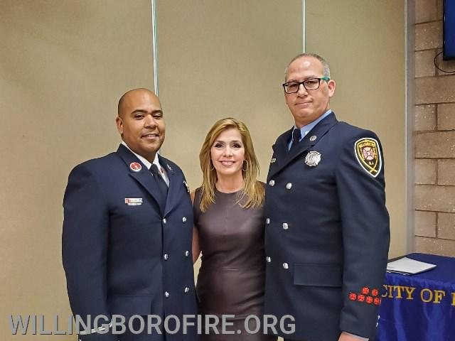 Lieutenant Ferrell and Firefighter Anderson with 6ABC Meteorologist Karen Rogers